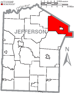 Map of Jefferson County, Pennsylvania Highlighting Snyder Township