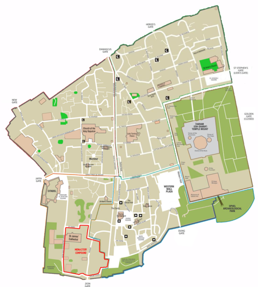 Map of Jerusalem - the old city - EN