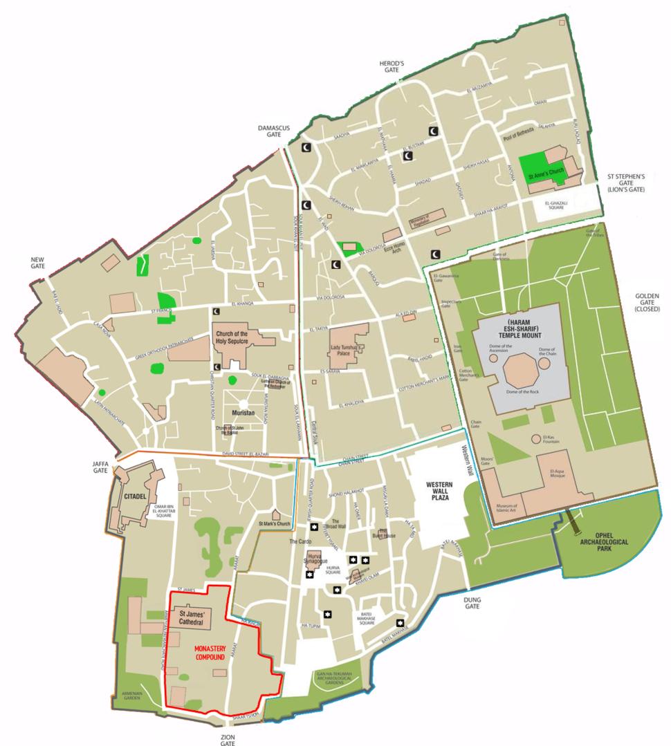 Map of Jerusalem - the old city - EN