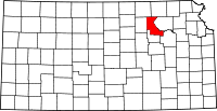 Map of Kansas highlighting Riley County