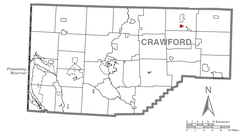 Map of Lincolnville, Crawford County, Pennsylvania Highlighted.png