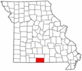 Map of Missouri highlighting Ozark County.png