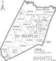 Map of Nash County North Carolina With Municipal and Township Labels.PNG