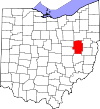 State map highlighting Tuscarawas County