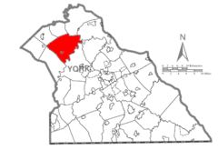 Map of York County, Pennsylvania Highlighting Warrington Township.PNG