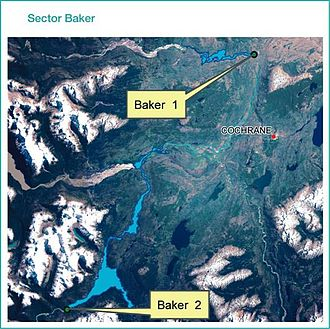 HidroAysén - A map of the Baker dam sites