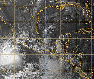 Tropical Storm Marco (2008) - Tropical Storms Marco (center), Norbert (bottom left), and the low that would eventually become Odile (bottom) on October 6.