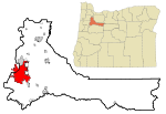 Marion County Oregon Incorporated and Unincorporated areas Salem Highlighted.svg