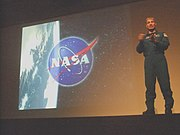 Mark Vande Hei talk - NASA logo over Earth