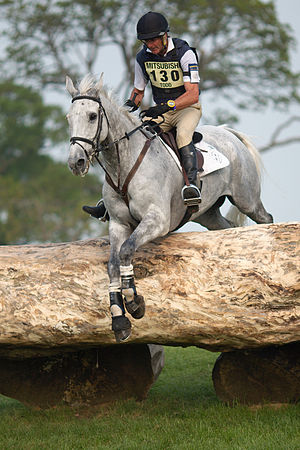 Badminton Horse Trials - 2011 winners Mark Todd and NZB Land Vision at the Quarry during the cross-country phase