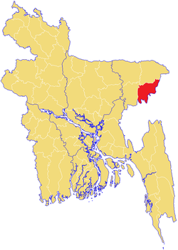 Location of Moulvibazar in Bangladesh