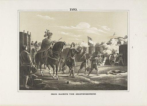 Maurits bij het beleg van Geertruidenberg, 1593 1593 Prins Maurits voor Geertruidenberg (titel op object), RP-P-OB-80.150