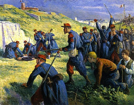 Eugene Varlin, one of the leaders of the Commune, was captured and shot by soldiers at Montmartre on 28 May, the last day of the uprising. Maximilien Luce-The Execution of Varlin.jpg
