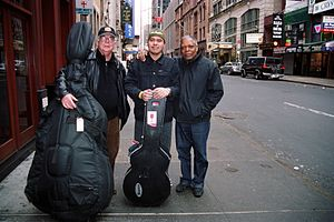 Ron McClure - Ron McClure (left) with guitarist Johnny Alegre (center) and drummer Billy Hart (right). This photo was taken in New York City when they recorded Johnny Alegre 3 for MCA.
