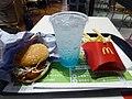 McDonald's Miyazaki Chicken Namban Burger set (Fried Potato & McFizz Blue Hawaii).jpg