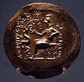 Medaglioni aurei romani da tesoro di aboukir, inv. 2434 atena in trono che nutre serpente su un ulivo.jpg