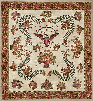 History of quilting - Elizabeth Welsh. Medallion Quilt, c. 1830. Cotton. Brooklyn Museum