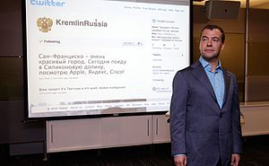 In Twitter's offices Mr Medvedev opened an off...