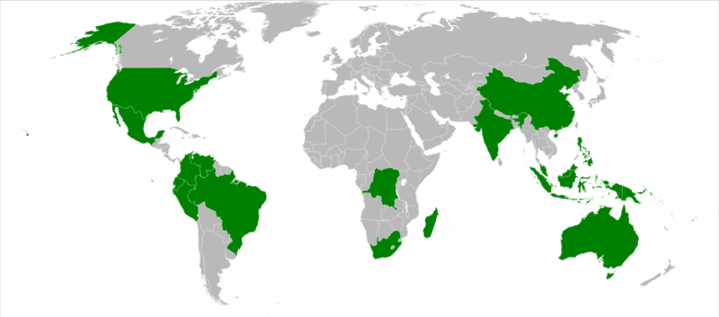 Mapa dos países megadiversos. Fonte Wikipedia
