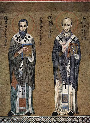 Icon of Ss. Basil the Great (left) and John Ch...