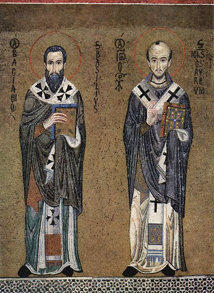 Icon of Ss. Basil the Great (left) and John Chrysostom, ascribed authors of the two most frequently used Eastern Orthodox Divine Liturgies, c. 1150 (mosaic in the Palatine Chapel, Palermo). Meister der Palastkapelle in Palermo 003.jpg