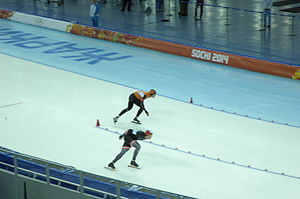 Latvia at the 2014 Winter Olympics - Haralds Silovs (under) riding the 1500 m
