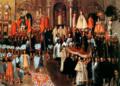 Mercedarian Friars in the procession Corpus Christ at the Main Square of Cusco. Santa Cruz Puma Callao. 17th century.png