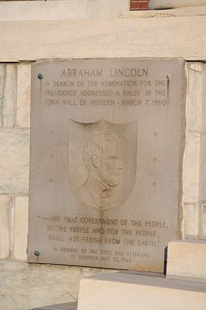 Meriden, Connecticut - Plaque commemorating Abraham Lincoln's visit to Meriden in 1860 in front of City Hall (2012)
