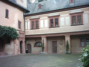 Mespelbrunn Castle - The southern side of the court