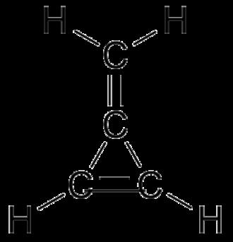 Methylene group - 3-Methylidenecycloprop-1-ene is named as a cyclopropene with a methylidene substituent.