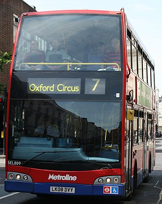 London Buses route 7 - Metroline East Lancs Olympus bodied Scania N230UD in June 2014