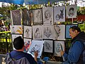 Mexico City- artist at work and selling art in Jardin Allende.jpg