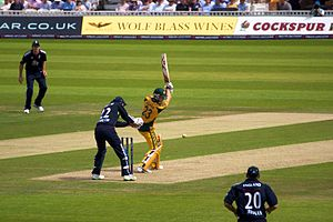 Tim Bresnan - Bresnan (bottom right) fielding against Australia in a One Day International in June 2010. Michael Clarke is the batsman.