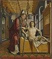 Michael Pacher - Kirchenväteraltar, Flügelaußenseite, Der hl. Augustinus heilt den Stiftsprobst - 2600 B - Bavarian State Painting Collections.jpg