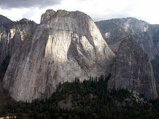 Middle Cathedral Rock rock face on the south side of Yosemite Valley