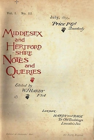 The Home Counties Magazine - Middlesex and Hertfordshire Notes and Queries Vol. I, No. III, July 1895.