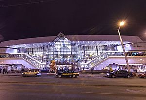 Minsk Railway station - View of the station from the street.