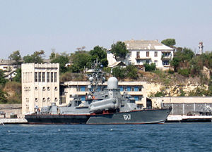 Battle off the coast of Abkhazia - Russian corvette Mirazh