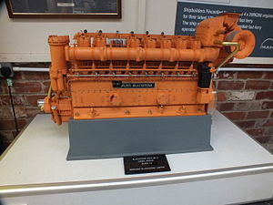 Blackstone & Co - Scale model of a Mirrlees Blackstone ESL8 Mk 2 diesel engine at Anson