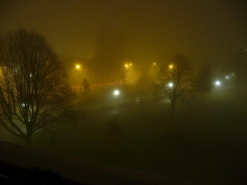 File:Mist in nachtelijke buitenwijk stad.jpg