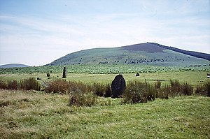 Mitchell's Fold - Corndon Hill above the Mitchells Fold stone circle