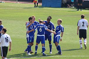 2005 MLS All-Star Game - MLS All-Stars celebrate a goal in the 2005 game versus Fulham of the Premier League