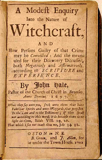 Title page of A Modest Enquiry Into the Nature of Witchcraft by John Hale (Boston, 1702) ModestEnquiry.jpg