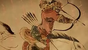 Mongol invasions and conquests - Mongol warrior on horseback, preparing a mounted archery shot.