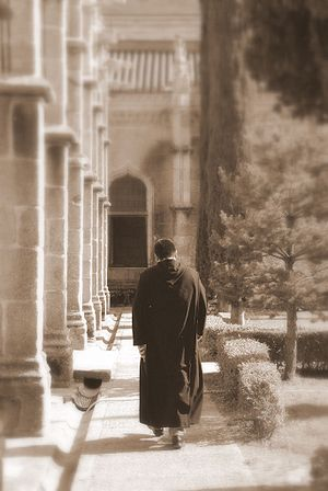Christian meditation - A monk walking in a Benedictine monastery
