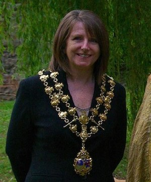 Mayor of Monmouth - Councillor Ann Were in 2010 showing the Monmouth Mayor's chain of office