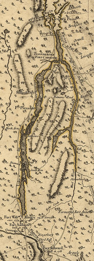 Battle on Snowshoes (1757) - Detail from a 1777 map by John Montresor. In 1757, the road along the left side of Lake George did not exist. Forts Edward and William Henry are near the bottom of this map. This battle took place somewhere between Ticonderoga and Crown Point.