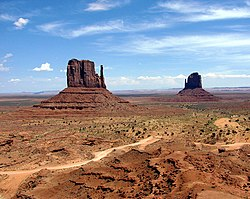 Two distinctive geological features found within the Monument Valley Navajo Tribal Park in northeast Navajo County, Arizona near Monument Valley, UT