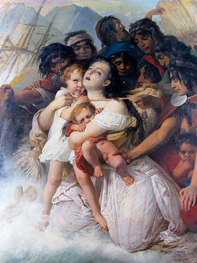 Painting by Raymond Monvoisin showing Elisa Bravo Jaramillo who was said to have survived the wreck to be then kidnapped by Mapuches. Monvoisin, Raymond - Naufragio del Joven Daniel -f02 det.jpg