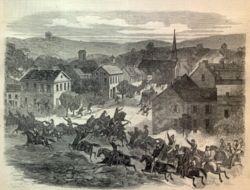 Grabado sobre la entrada de las tropas de John Hunt Morgan a Washington, Ohio.